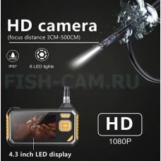 Профессиональный Эндоскоп Тритон HD кабель 3 метра 4.3 дюйма  камера 8.0 мм